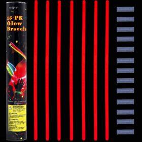 Glow stick βραχιόλι κόκκινο (15 τεμ.) 5 Χ 200mm